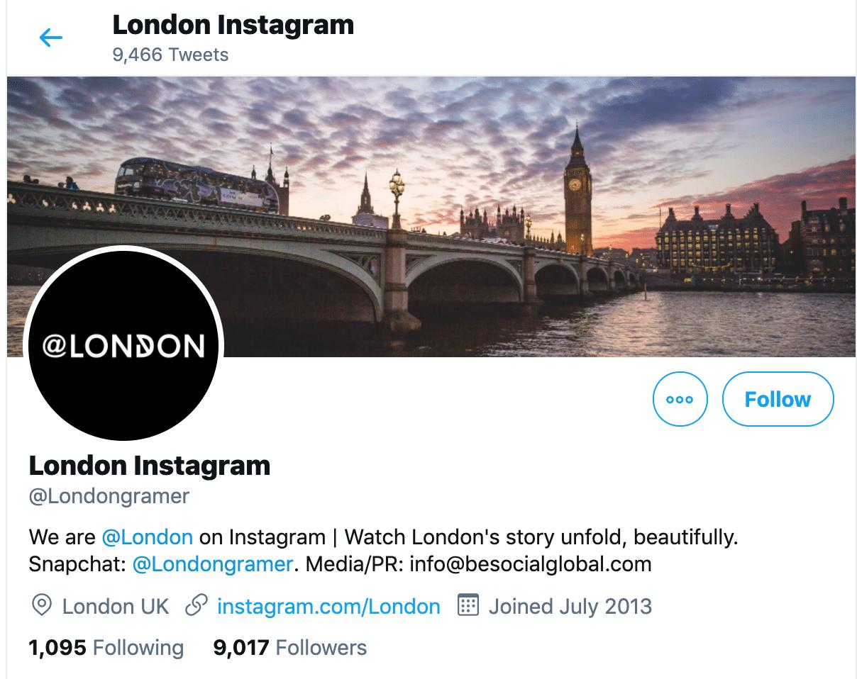 London Twitter bio