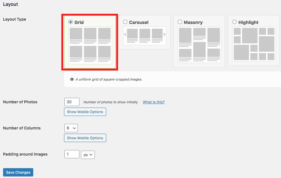 embed instagram on website grid layout