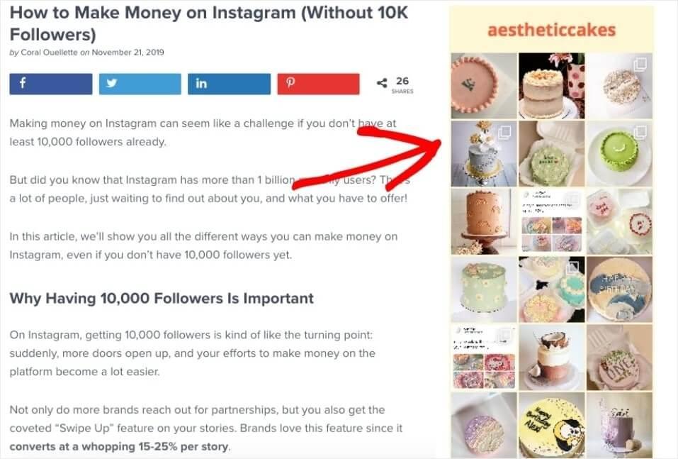 embed instagram on website wordpress widget