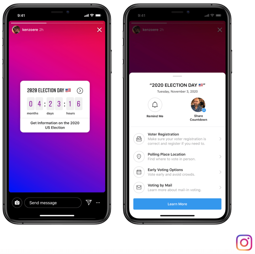 Instagram and Facebook voting information message