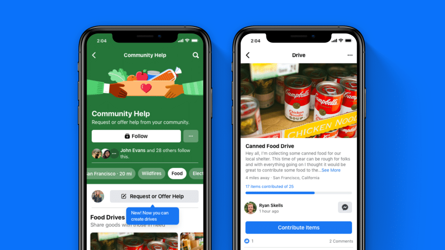 Screenshots of Community Help page on Facebook