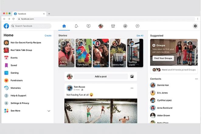 New Facebook design on desktop