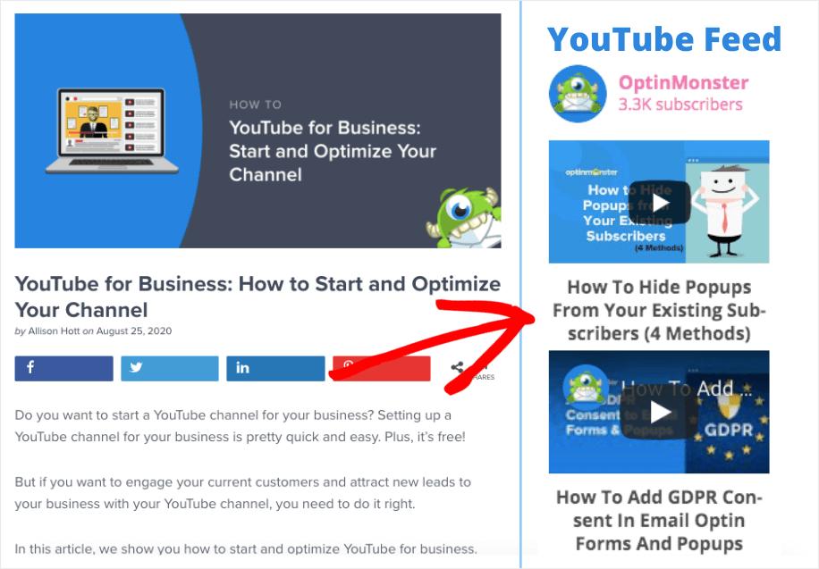 social media widget wordpress youtube feed