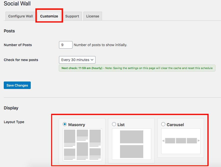 customize social wall pro