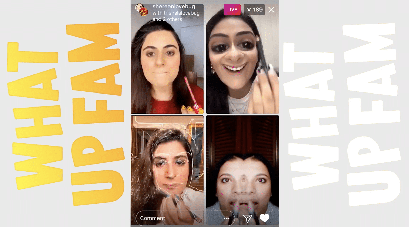 4 Instagram influencers going Live on the same screen